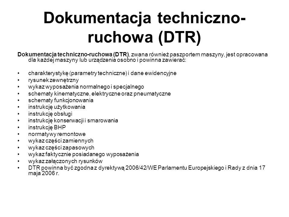Dokumentacja techniczno- ruchowa (DTR) Dokumentacja techniczno-ruchowa (DTR), zwana również paszportem maszyny, jest opracowana dla każdej maszyny lub