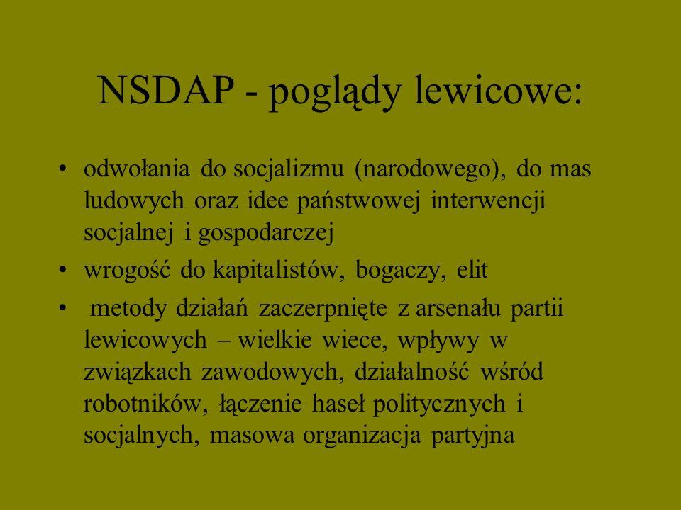 NSDAP - poglądy lewicowe: odwołania do socjalizmu (narodowego), do mas ludowych oraz idee państwowej interwencji socjalnej i gospodarczej wrogość do k