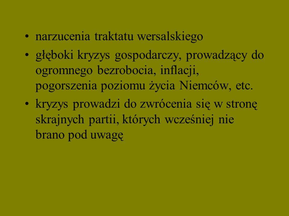 narzucenia traktatu wersalskiego głęboki kryzys gospodarczy, prowadzący do ogromnego bezrobocia, inflacji, pogorszenia poziomu życia Niemców, etc. kry