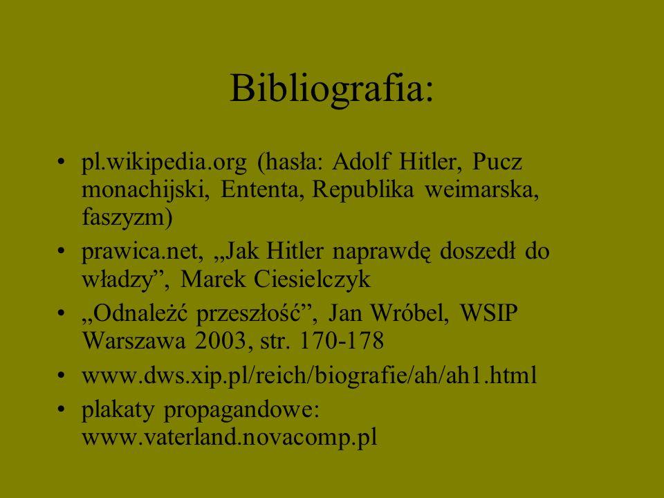 Bibliografia: pl.wikipedia.org (hasła: Adolf Hitler, Pucz monachijski, Ententa, Republika weimarska, faszyzm) prawica.net, Jak Hitler naprawdę doszedł