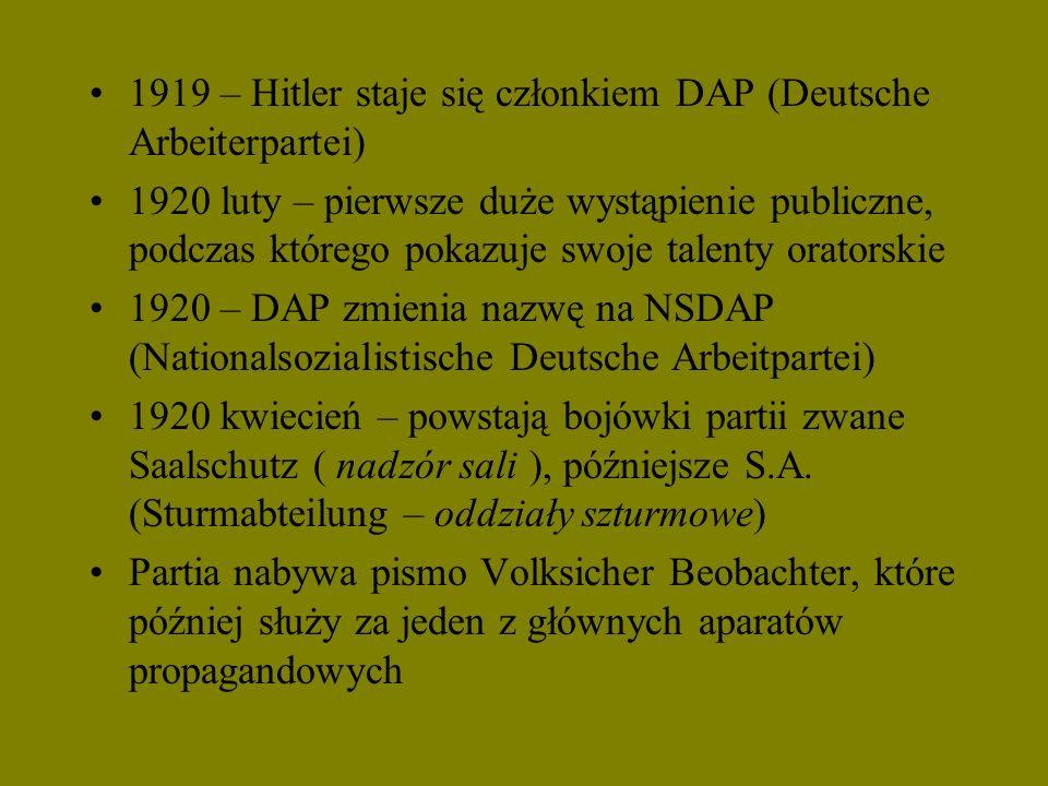1919 – Hitler staje się członkiem DAP (Deutsche Arbeiterpartei) 1920 luty – pierwsze duże wystąpienie publiczne, podczas którego pokazuje swoje talent