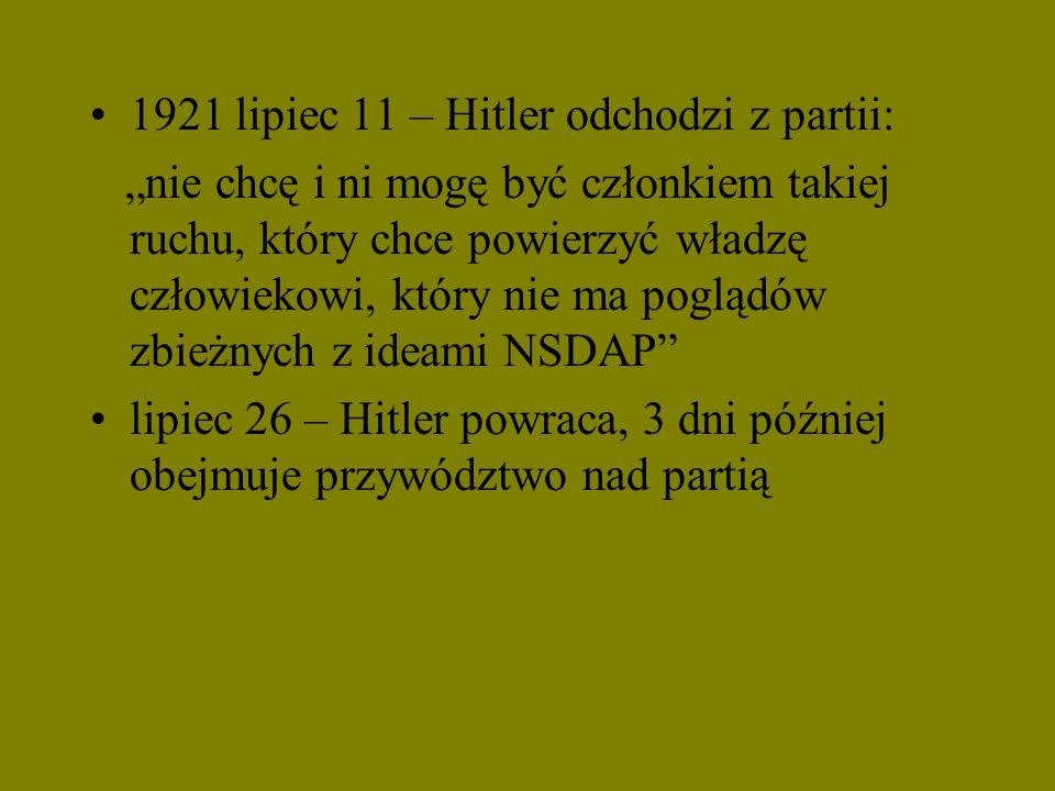 1921 lipiec 11 – Hitler odchodzi z partii: nie chcę i ni mogę być członkiem takiej ruchu, który chce powierzyć władzę człowiekowi, który nie ma pogląd