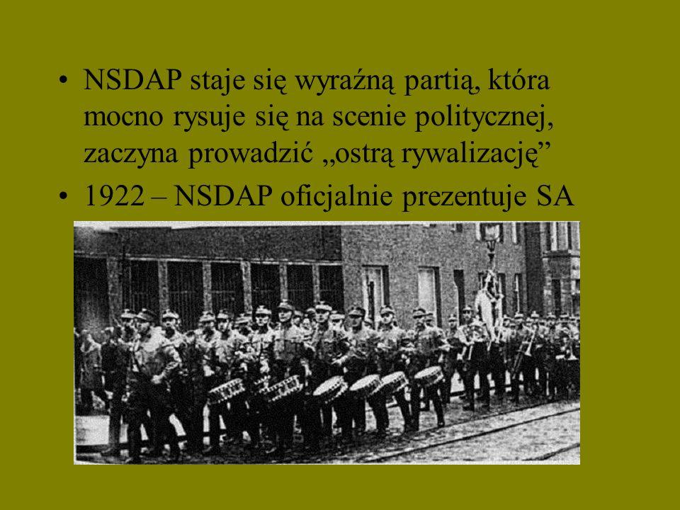 NSDAP staje się wyraźną partią, która mocno rysuje się na scenie politycznej, zaczyna prowadzić ostrą rywalizację 1922 – NSDAP oficjalnie prezentuje S