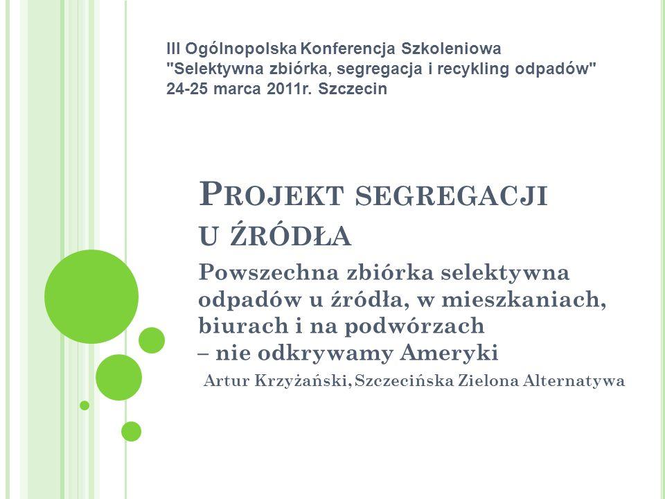 D ZIĘKUJĘ ZA UWAGĘ I ZAPRASZAM DO DYSKUSJI … Artur Krzyżański, stowarzyszenie SZA, ekosza.pl segregacjauzrodla.pl ( wkrótce ) podwórka.pl
