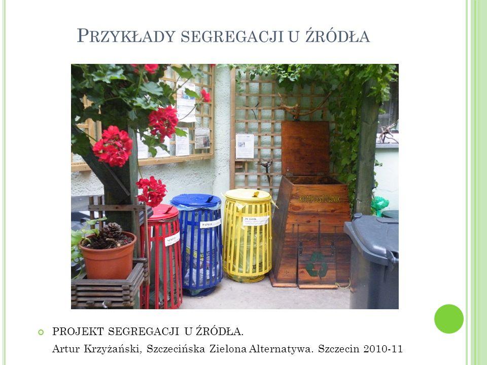 P RZYKŁADY SEGREGACJI U ŹRÓDŁA PROJEKT SEGREGACJI U ŹRÓDŁA. Artur Krzyżański, Szczecińska Zielona Alternatywa. Szczecin 2010-11