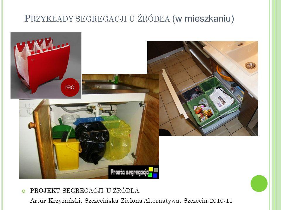 P RZYKŁADY SEGREGACJI U ŹRÓDŁA (w mieszkaniu) PROJEKT SEGREGACJI U ŹRÓDŁA. Artur Krzyżański, Szczecińska Zielona Alternatywa. Szczecin 2010-11