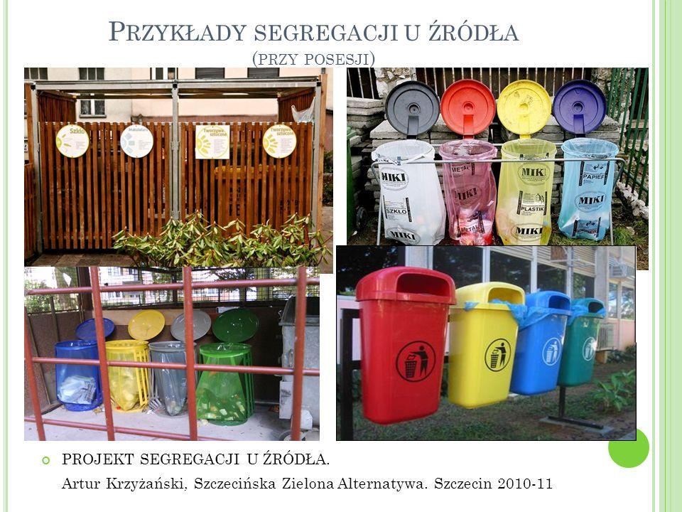 P RZYKŁADY SEGREGACJI U ŹRÓDŁA ( PRZY POSESJI ) PROJEKT SEGREGACJI U ŹRÓDŁA. Artur Krzyżański, Szczecińska Zielona Alternatywa. Szczecin 2010-11