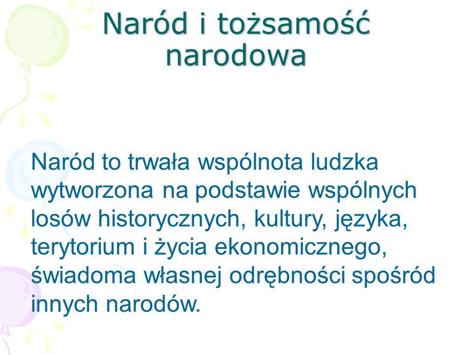 Definicja narodu Świadomość narodowa - deklaracja przynależności do jakiegoś narodu.