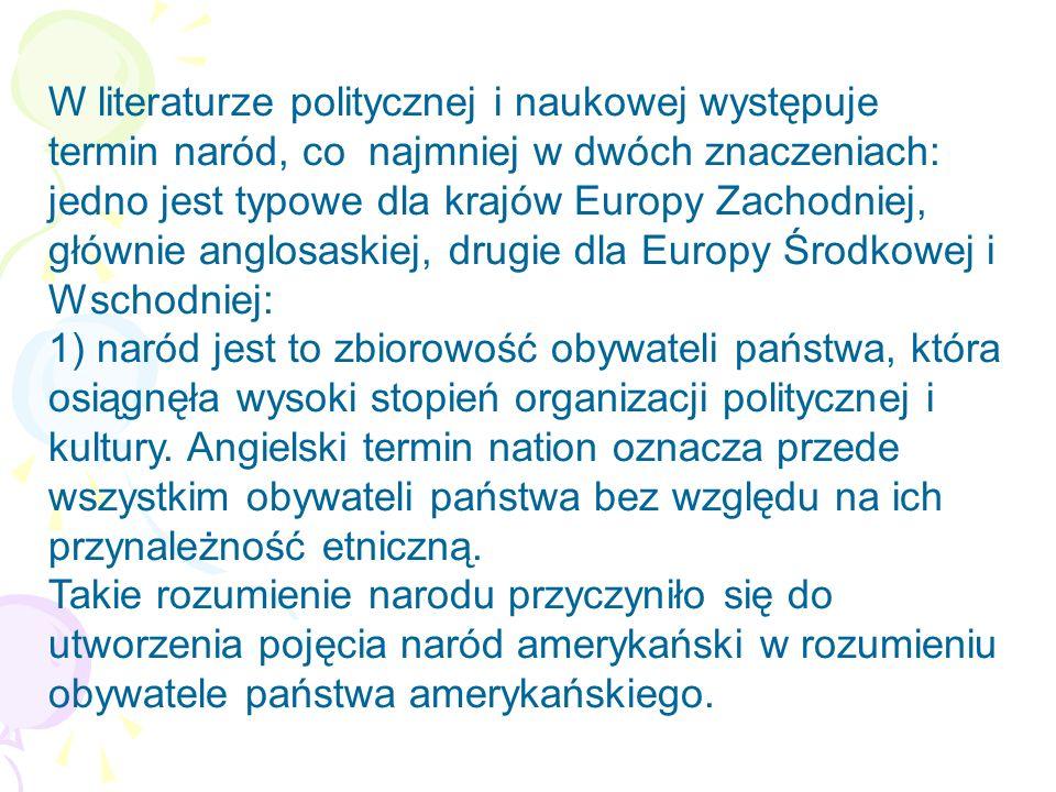 W literaturze politycznej i naukowej występuje termin naród, co najmniej w dwóch znaczeniach: jedno jest typowe dla krajów Europy Zachodniej, głównie