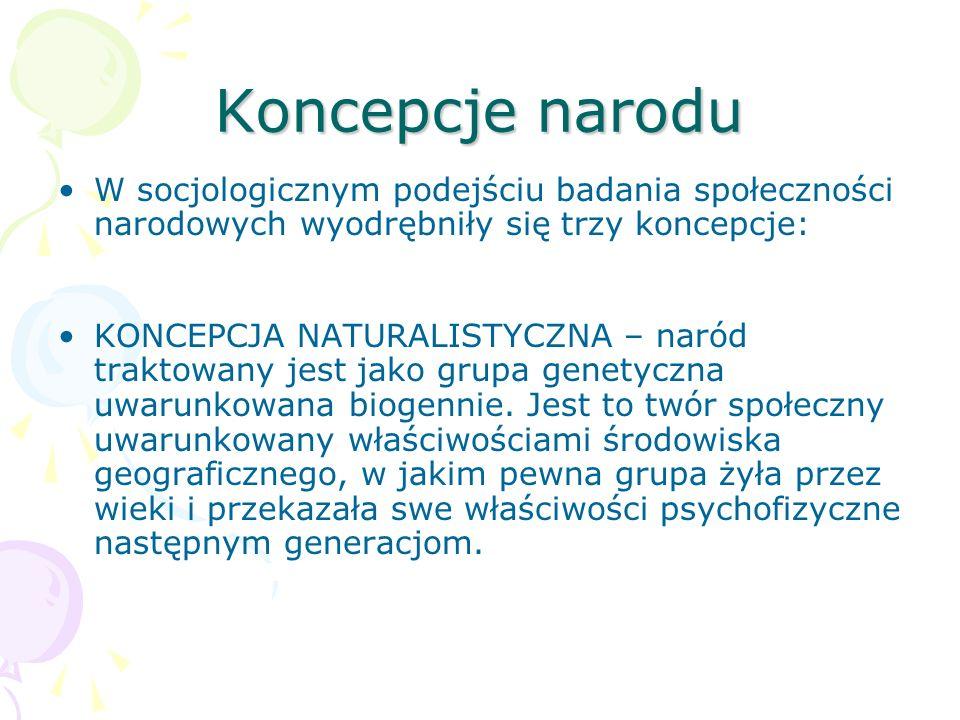 Koncepcje narodu W socjologicznym podejściu badania społeczności narodowych wyodrębniły się trzy koncepcje: KONCEPCJA NATURALISTYCZNA – naród traktowa