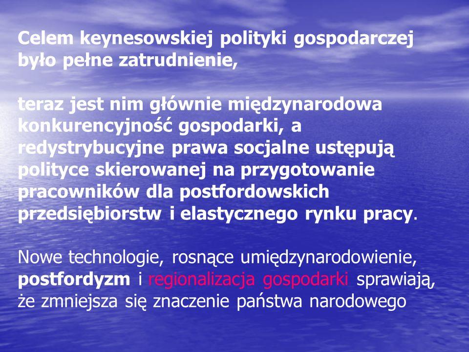 Celem keynesowskiej polityki gospodarczej było pełne zatrudnienie, teraz jest nim głównie międzynarodowa konkurencyjność gospodarki, a redystrybucyjne