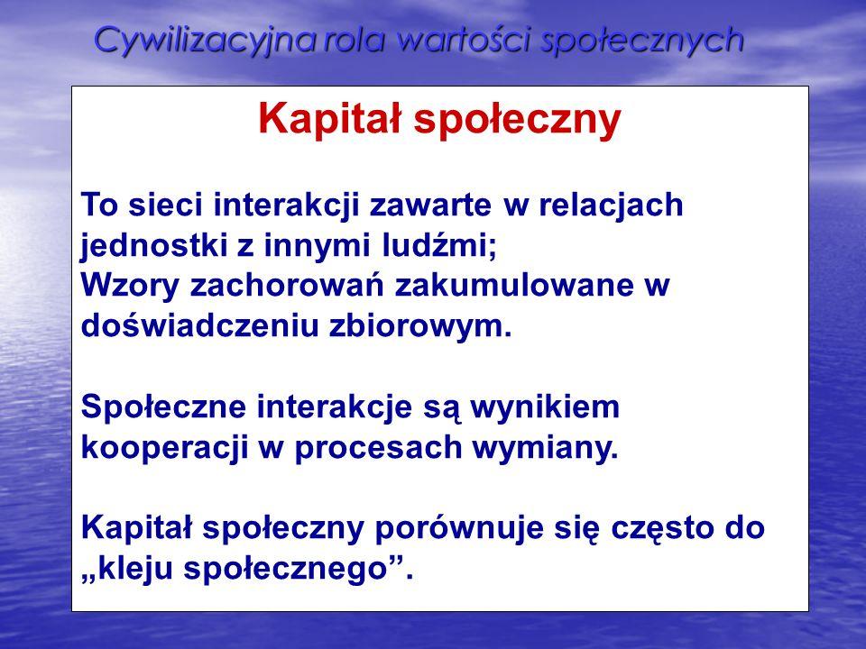 Cywilizacyjna rola wartości społecznych Kapitał społeczny To sieci interakcji zawarte w relacjach jednostki z innymi ludźmi; Wzory zachorowań zakumulo