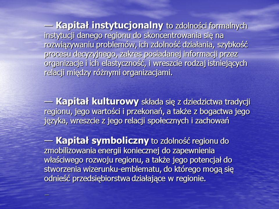 Kapitał instytucjonalny to zdolności formalnych instytucji danego regionu do skoncentrowania się na rozwiązywaniu problemów, ich zdolność działania, s