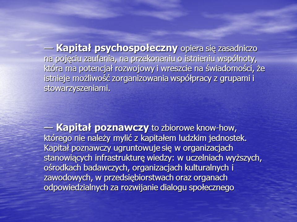 Kapitał psychospołeczny opiera się zasadniczo na pojęciu zaufania, na przekonaniu o istnieniu wspólnoty, która ma potencjał rozwojowy i wreszcie na św
