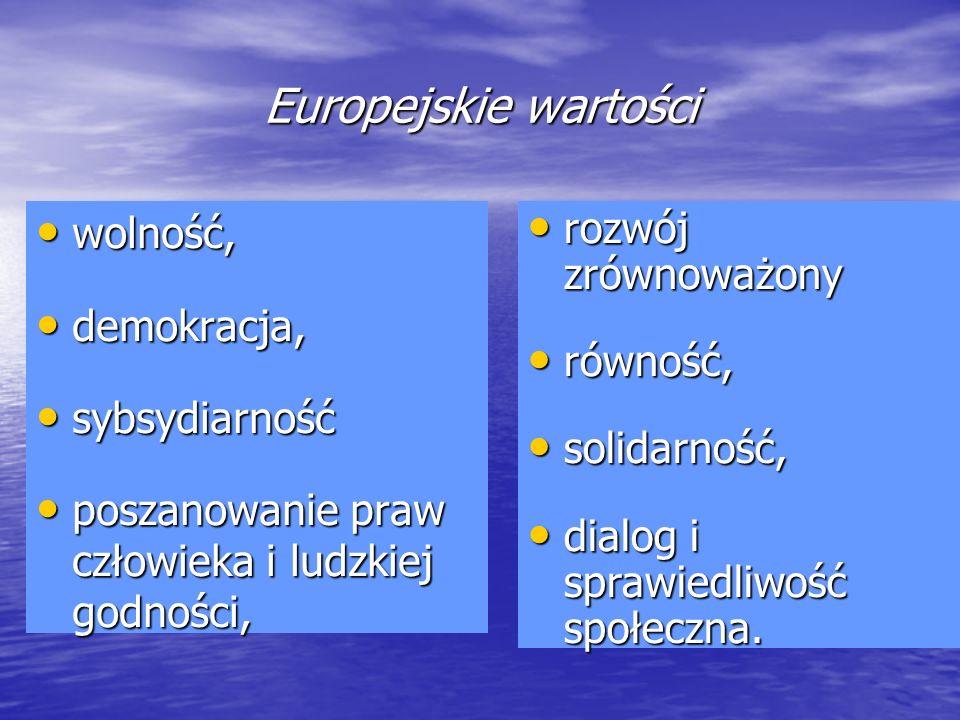 Europejskie wartości wolność, wolność, demokracja, demokracja, sybsydiarność sybsydiarność poszanowanie praw człowieka i ludzkiej godności, poszanowan