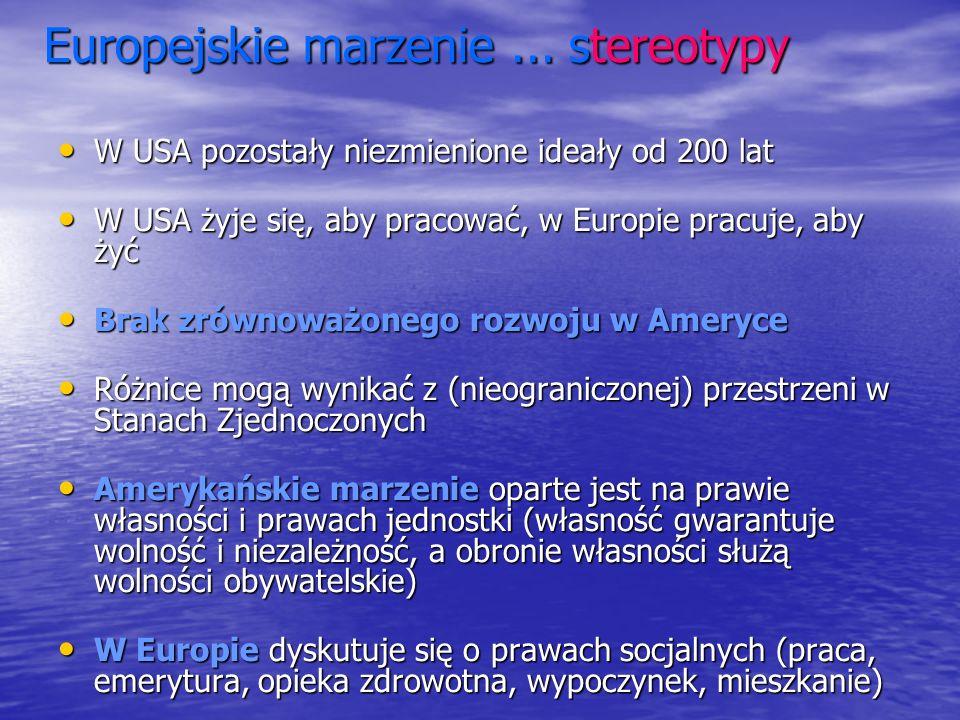 Europejskie marzenie... stereotypy Europejskie marzenie... stereotypy W USA pozostały niezmienione ideały od 200 lat W USA pozostały niezmienione idea