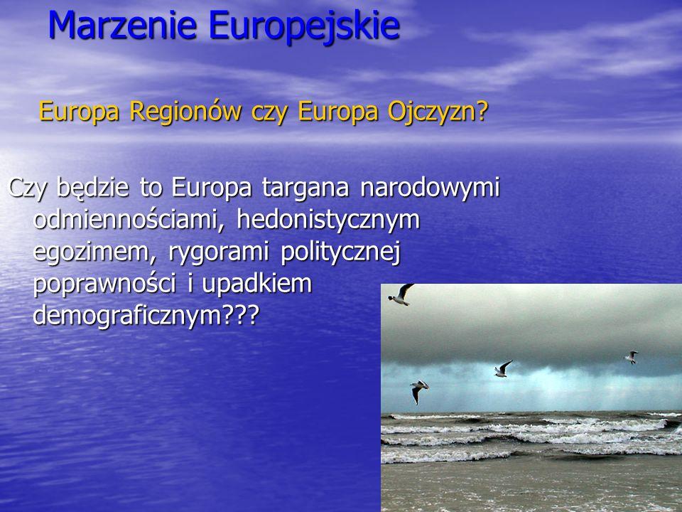 Marzenie Europejskie Europa Regionów czy Europa Ojczyzn? Czy będzie to Europa targana narodowymi odmiennościami, hedonistycznym egozimem, rygorami pol