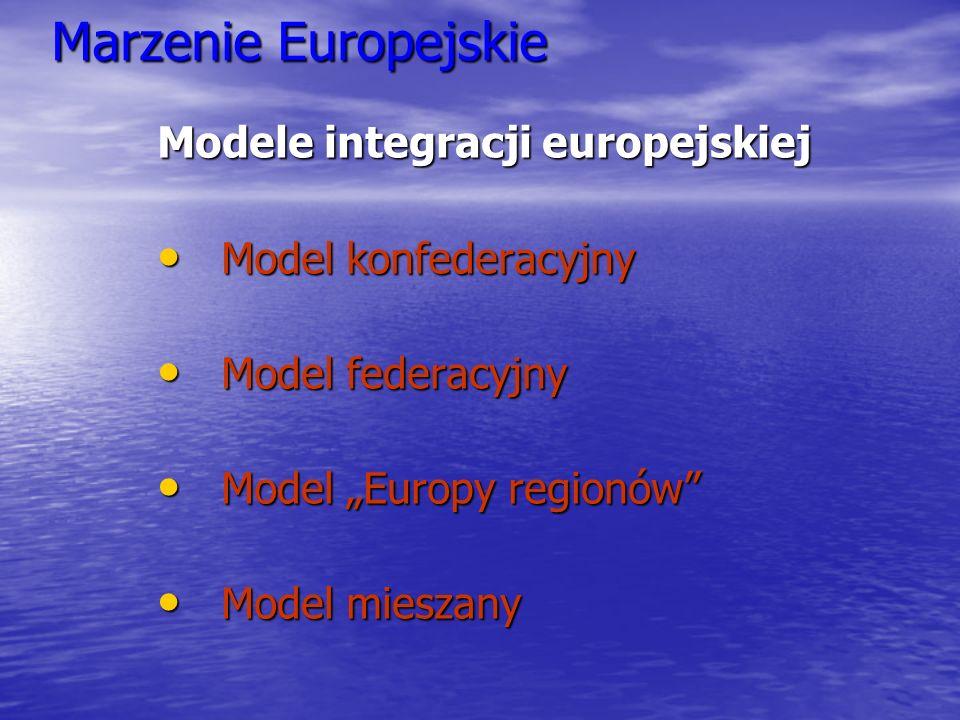 Marzenie Europejskie Modele integracji europejskiej Model konfederacyjny Model konfederacyjny Model federacyjny Model federacyjny Model Europy regionó