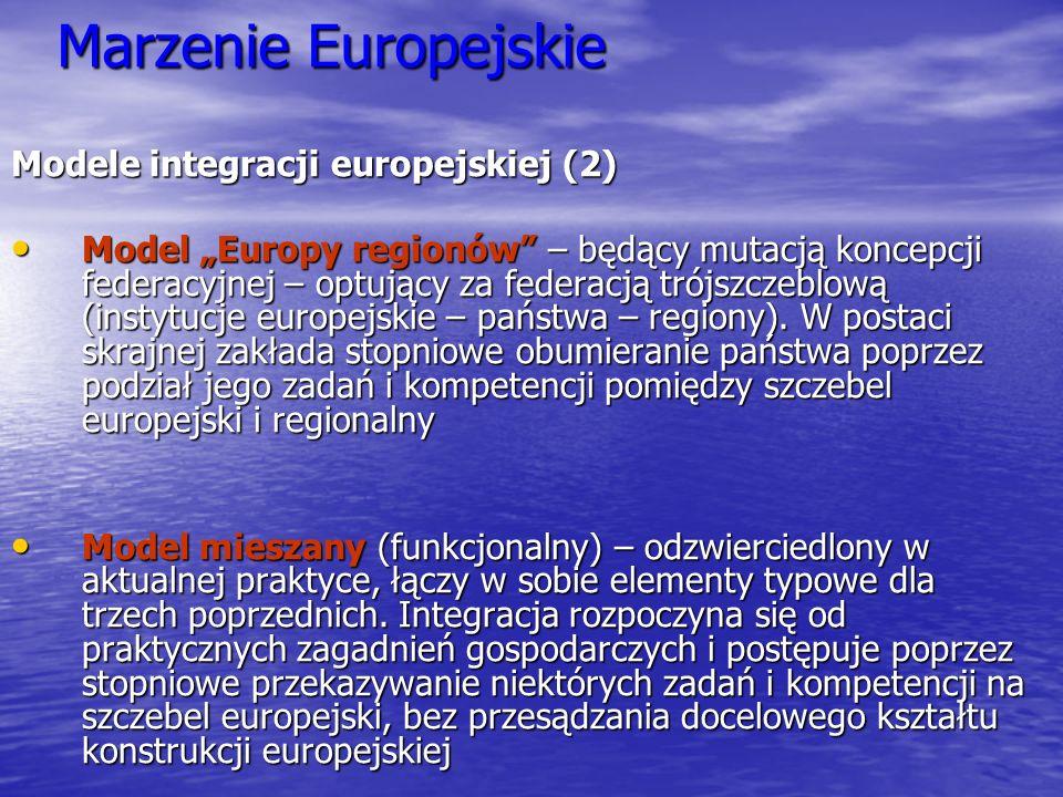 Marzenie Europejskie Modele integracji europejskiej (2) Model Europy regionów – będący mutacją koncepcji federacyjnej – optujący za federacją trójszcz