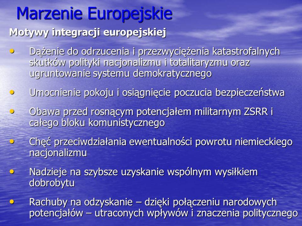 Marzenie Europejskie Motywy integracji europejskiej Dążenie do odrzucenia i przezwyciężenia katastrofalnych skutków polityki nacjonalizmu i totalitary