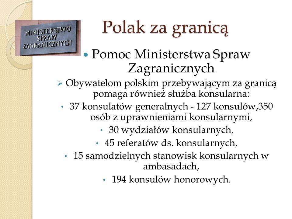 Polak za granicą Pomoc Ministerstwa Spraw Zagranicznych Obywatelom polskim przebywającym za granicą pomaga również służba konsularna: 37 konsulatów ge