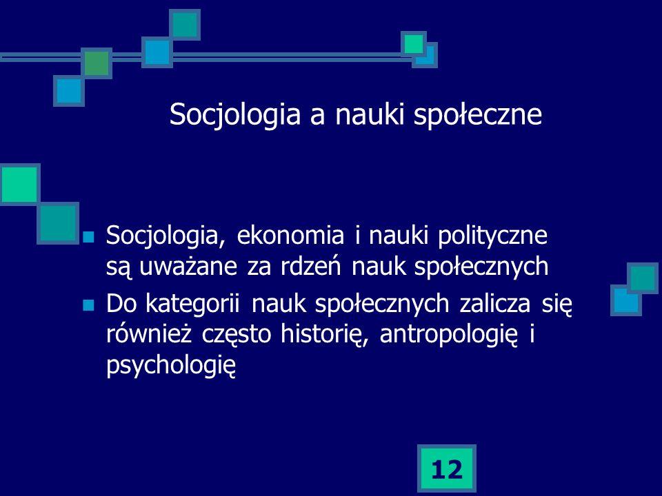 12 Socjologia a nauki społeczne Socjologia, ekonomia i nauki polityczne są uważane za rdzeń nauk społecznych Do kategorii nauk społecznych zalicza się