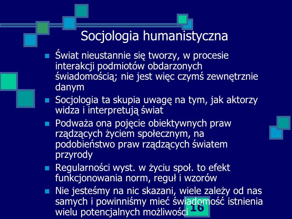 16 Socjologia humanistyczna Świat nieustannie się tworzy, w procesie interakcji podmiotów obdarzonych świadomością; nie jest więc czymś zewnętrznie da