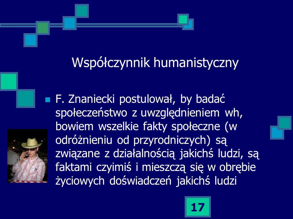 17 Współczynnik humanistyczny F. Znaniecki postulował, by badać społeczeństwo z uwzględnieniem wh, bowiem wszelkie fakty społeczne (w odróżnieniu od p