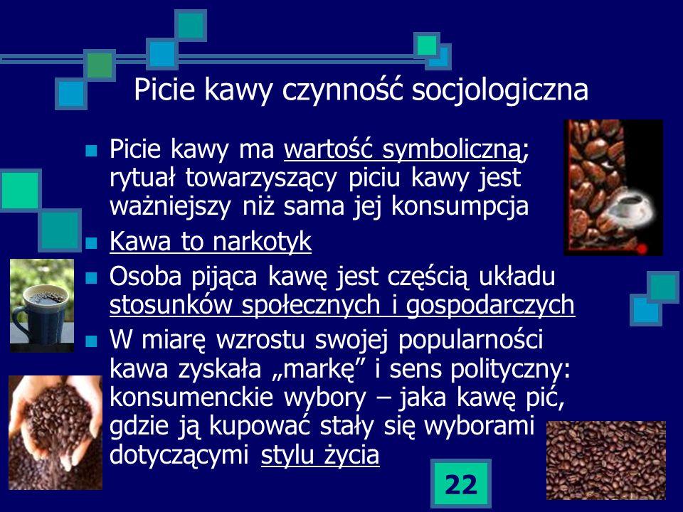 22 Picie kawy czynność socjologiczna Picie kawy ma wartość symboliczną; rytuał towarzyszący piciu kawy jest ważniejszy niż sama jej konsumpcja Kawa to