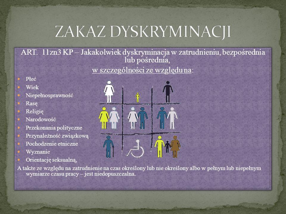 ART. 11zn3 KP – Jakakolwiek dyskryminacja w zatrudnieniu, bezpośrednia lub pośrednia, w szczególności ze względu na: Płeć Wiek Niepełnosprawność Rasę