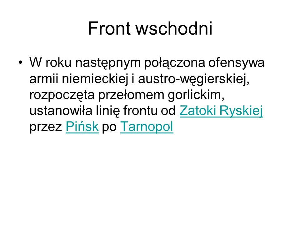 Front wschodni W roku następnym połączona ofensywa armii niemieckiej i austro-węgierskiej, rozpoczęta przełomem gorlickim, ustanowiła linię frontu od Zatoki Ryskiej przez Pińsk po TarnopolZatoki RyskiejPińskTarnopol