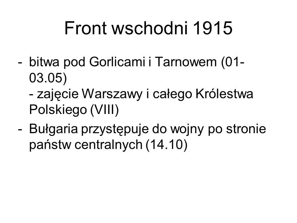 Front wschodni 1915 -bitwa pod Gorlicami i Tarnowem (01- 03.05) - zajęcie Warszawy i całego Królestwa Polskiego (VIII) -Bułgaria przystępuje do wojny po stronie państw centralnych (14.10)