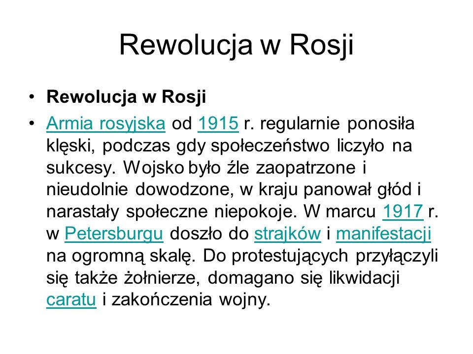 Rewolucja w Rosji Armia rosyjska od 1915 r.