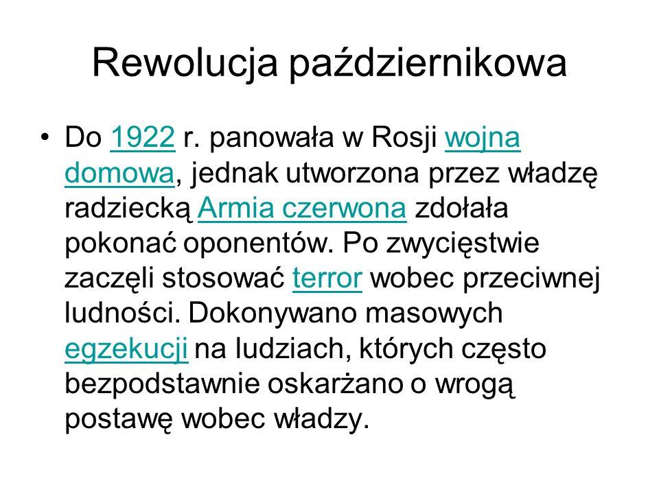 Rewolucja październikowa Do 1922 r.