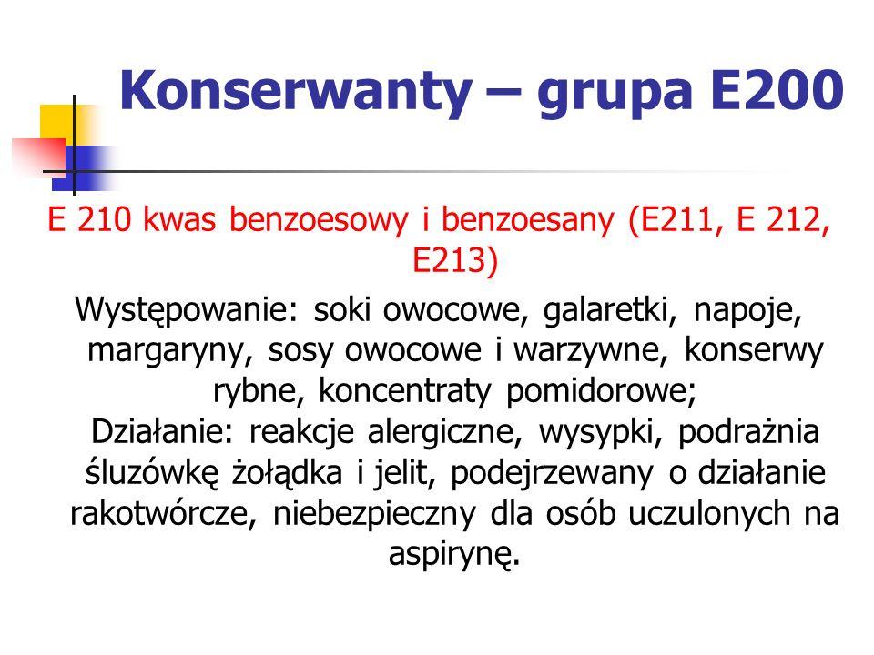Konserwanty – grupa E200 E 210 kwas benzoesowy i benzoesany (E211, E 212, E213) Występowanie: soki owocowe, galaretki, napoje, margaryny, sosy owocowe