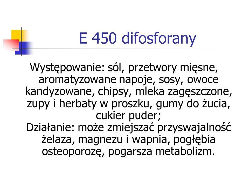 E 450 difosforany Występowanie: sól, przetwory mięsne, aromatyzowane napoje, sosy, owoce kandyzowane, chipsy, mleka zagęszczone, zupy i herbaty w pros