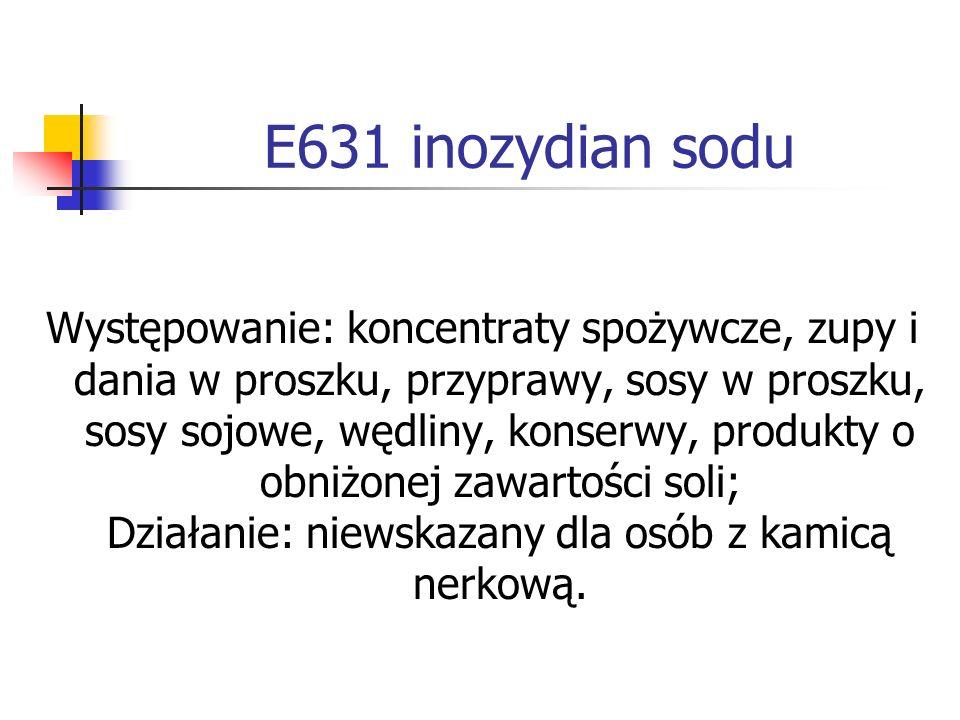 E631 inozydian sodu Występowanie: koncentraty spożywcze, zupy i dania w proszku, przyprawy, sosy w proszku, sosy sojowe, wędliny, konserwy, produkty o