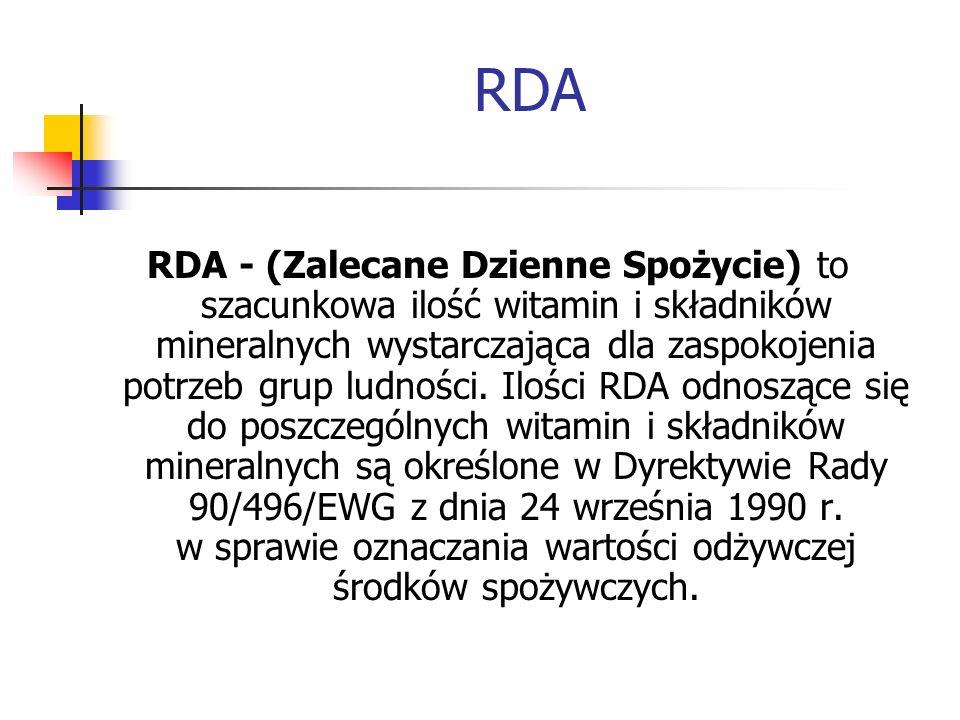RDA RDA - (Zalecane Dzienne Spożycie) to szacunkowa ilość witamin i składników mineralnych wystarczająca dla zaspokojenia potrzeb grup ludności. Ilośc