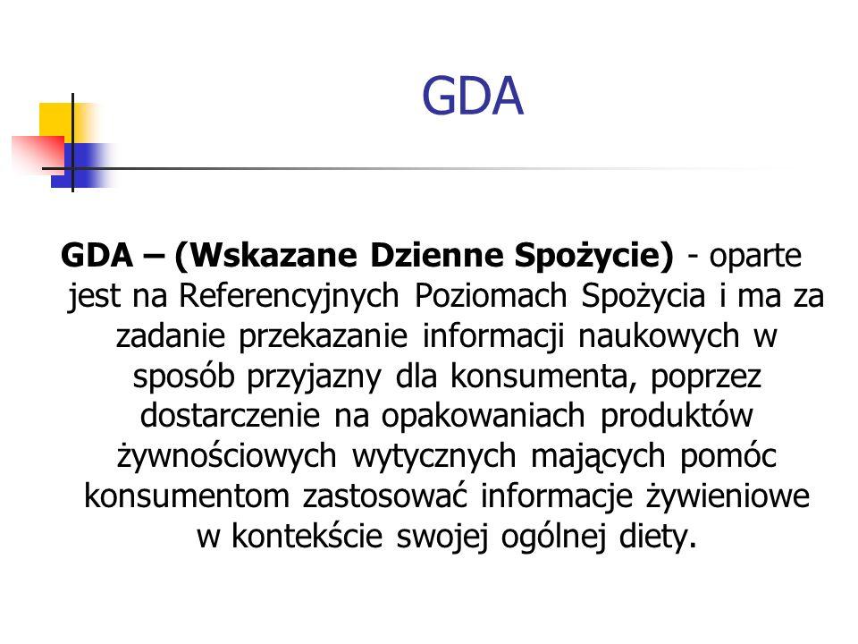 GDA GDA – (Wskazane Dzienne Spożycie) - oparte jest na Referencyjnych Poziomach Spożycia i ma za zadanie przekazanie informacji naukowych w sposób prz
