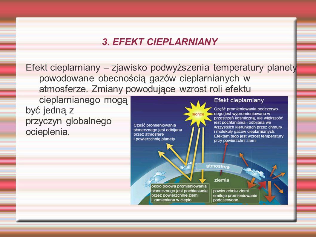 3. EFEKT CIEPLARNIANY Efekt cieplarniany – zjawisko podwyższenia temperatury planety powodowane obecnością gazów cieplarnianych w atmosferze. Zmiany p