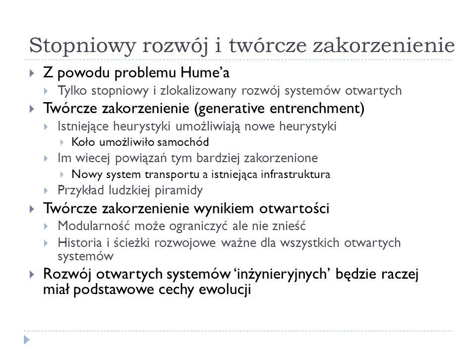 Stopniowy rozwój i twórcze zakorzenienie Z powodu problemu Humea Tylko stopniowy i zlokalizowany rozwój systemów otwartych Twórcze zakorzenienie (gene