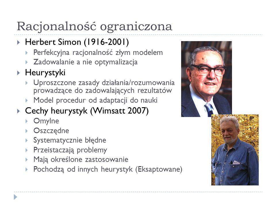 Racjonalność ograniczona Herbert Simon (1916-2001) Perfekcyjna racjonalność złym modelem Zadowalanie a nie optymalizacja Heurystyki Uproszczone zasady