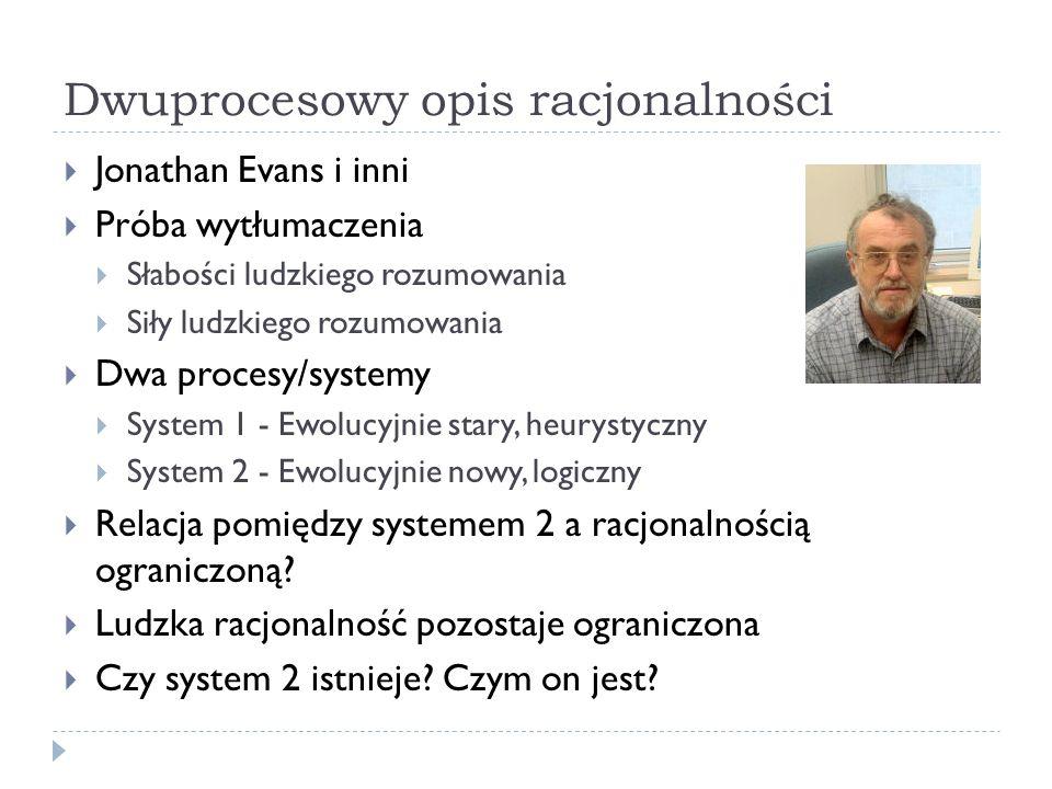 Dwuprocesowy opis racjonalności Jonathan Evans i inni Próba wytłumaczenia Słabości ludzkiego rozumowania Siły ludzkiego rozumowania Dwa procesy/system