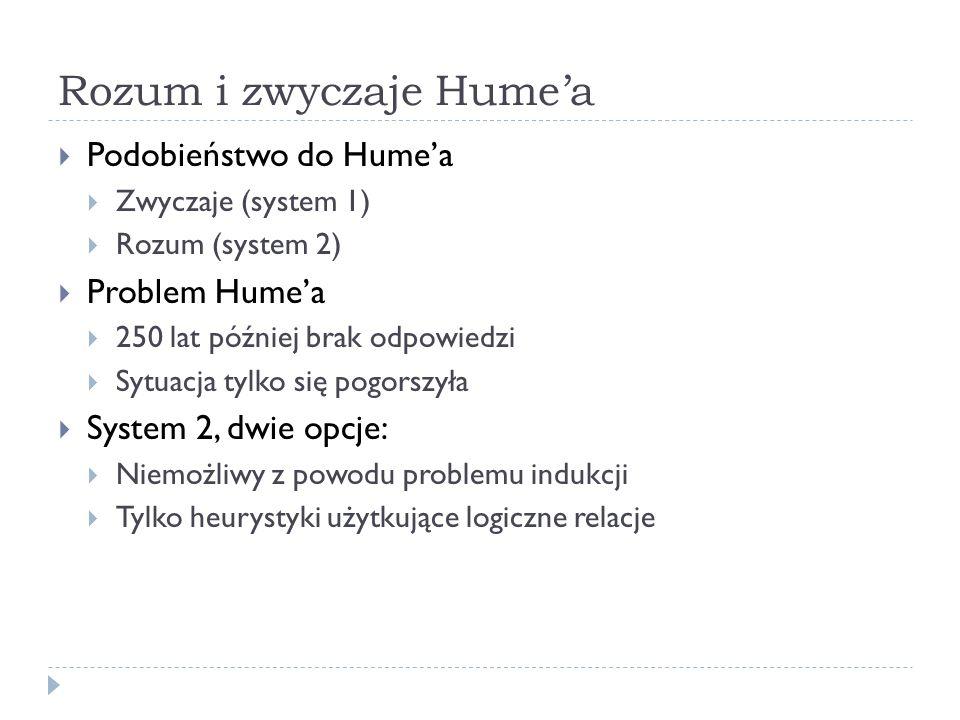 Zwyczaje i heurystyki Zmiana podejścia do uwag Humea Nie problem ale fakt Podstawowe ograniczenie epistemiczne Heurystyki odpowiedzią Heurystyki dookreśleniem zwyczajów Naturalistyczna interpretacja Humea Pojawiają się gdziekolwiek problem Humea się pojawia