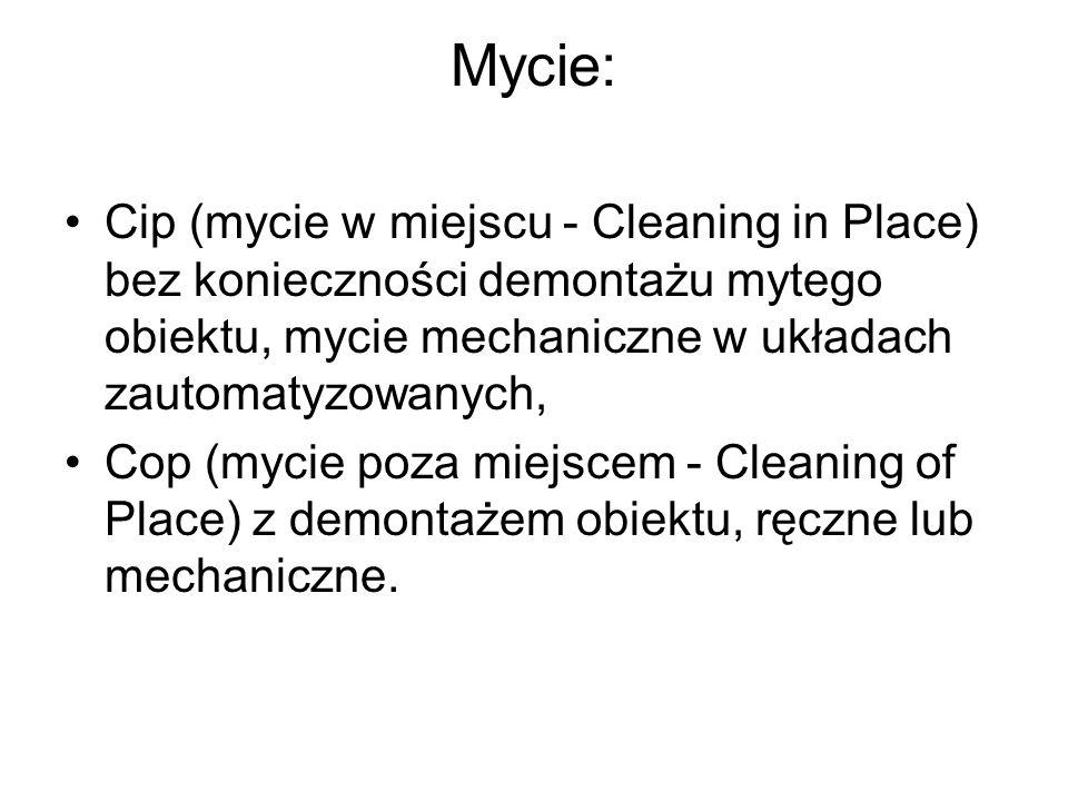 Mycie: Cip (mycie w miejscu - Cleaning in Place) bez konieczności demontażu mytego obiektu, mycie mechaniczne w układach zautomatyzowanych, Cop (mycie