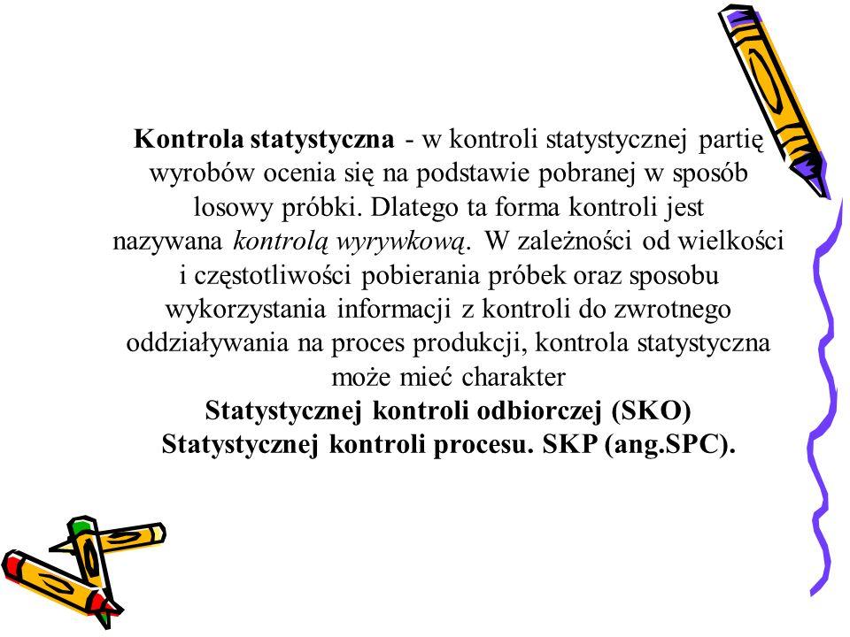 Kontrola statystyczna - w kontroli statystycznej partię wyrobów ocenia się na podstawie pobranej w sposób losowy próbki. Dlatego ta forma kontroli jes