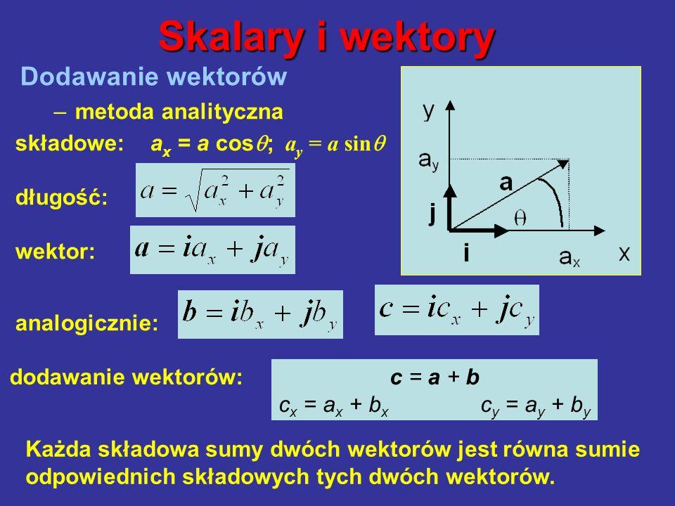 Dodawanie wektorów –metoda analityczna Skalary i wektory składowe: a x = a cos ; a y = a sin długość: wektor: analogicznie:, dodawanie wektorów: c = a