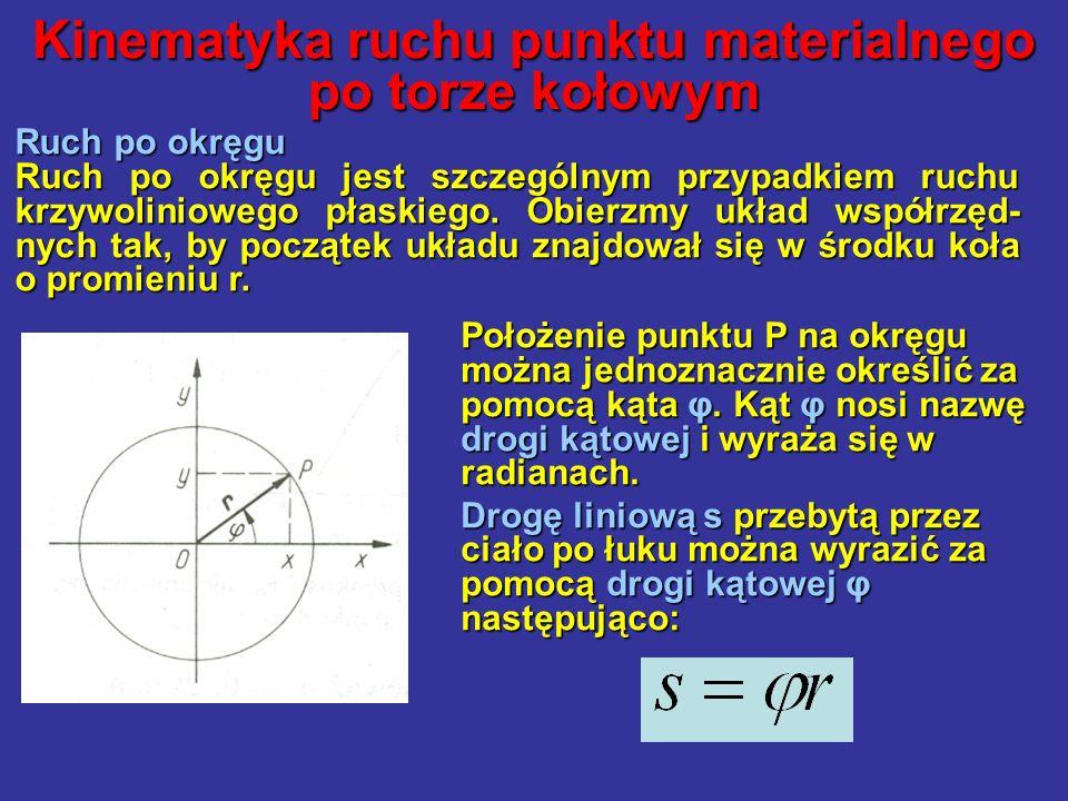 Kinematyka ruchu punktu materialnego po torze kołowym Ruch po okręgu Ruch po okręgu jest szczególnym przypadkiem ruchu krzywoliniowego płaskiego. Obie