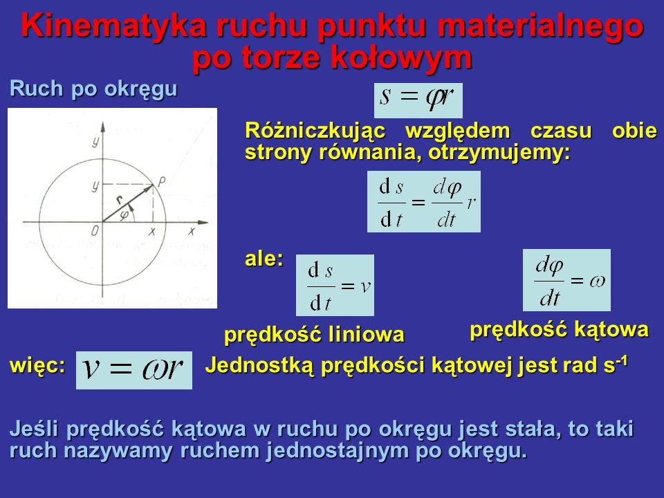 Kinematyka ruchu punktu materialnego po torze kołowym Ruch po okręgu więc: Jednostką prędkości kątowej jest rad s -1 Jeśli prędkość kątowa w ruchu po