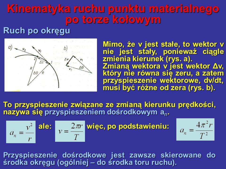 Kinematyka ruchu punktu materialnego po torze kołowym Ruch po okręgu To przyspieszenie związane ze zmianą kierunku prędkości, nazywa się przyspieszeni